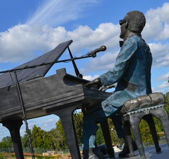 Revolving bronze sculpture of Ray Charles in Albany, Georgia