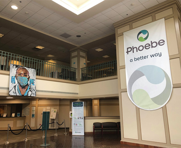 Lobby interior of Phoebe health system hospital
